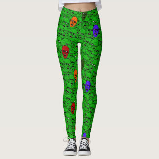 Undead Zombie Heads collage work out Leggings