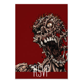 Undead Zombie's Anguished Rotten Flesh Cry 3.5x5 Paper Invitation Card
