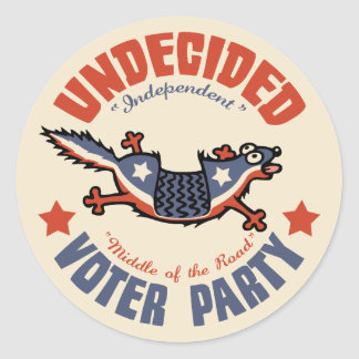 Undecided Voter Party Mascot Classic Round Sticker