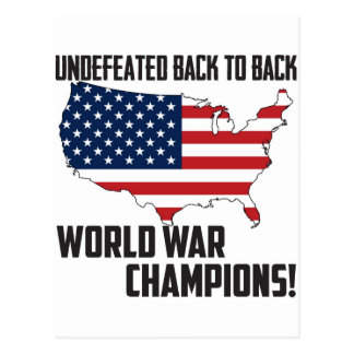 Undefeated Back to Back World War Champions USA Postcard