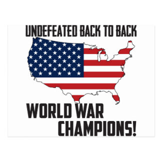 Undefeated Back to Back World War Champions USA Postcards