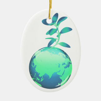 undefined Double-Sided oval ceramic christmas ornament