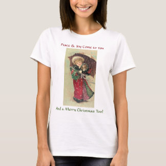 Under $20: Victorian Girl & Puppy Christmas T-Shirt