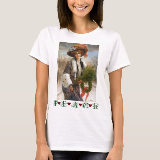 Under $20: Victorian Lady Christmas Peace T-Shirt