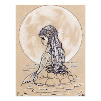 Under a full moon little mermaid postcard