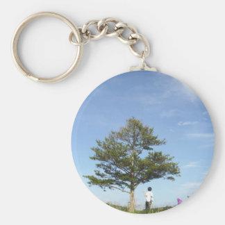 under a tree basic round button keychain