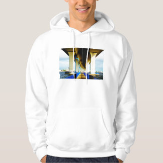Under bridge blue lights and walkway photo hooded pullover
