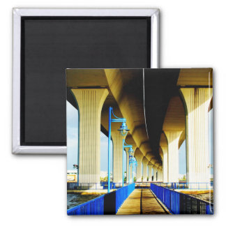 Under bridge blue lights and walkway photo magnets