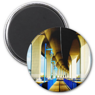 Under bridge blue lights and walkway photo refrigerator magnet