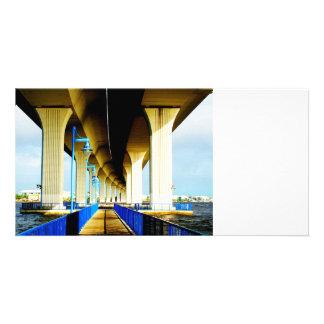 Under bridge blue lights and walkway photo customized photo card