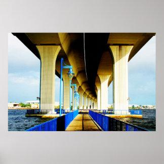Under bridge blue lights and walkway photo poster