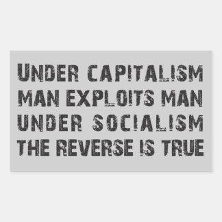 Under Capitalism Man Exploits Man Rectangular Stickers