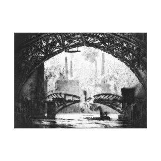 Under Chicago Bridges 1910 BW Canvas Print