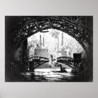 Under Chicago Bridges 1910 BW Poster