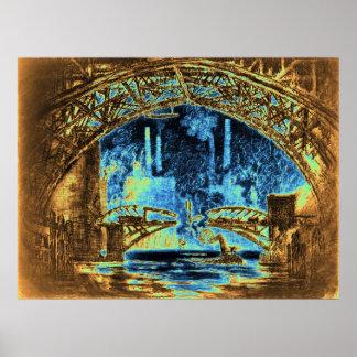 Under Chicago Bridges 1910 Poster