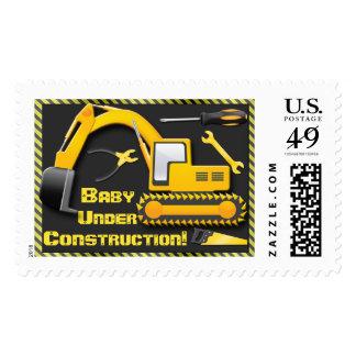 Under Construction Baby Boy Shower Postage Stamp