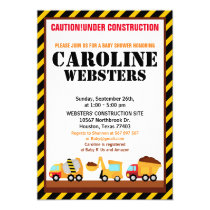 UNDER CONSTRUCTION Baby Shower Party Invitation