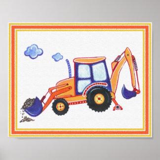 Under Construction Backhoe Nursery Art Print