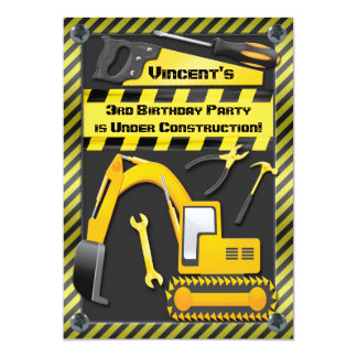 Under Construction Birthday Party Tools Diggers Personalized Invitations