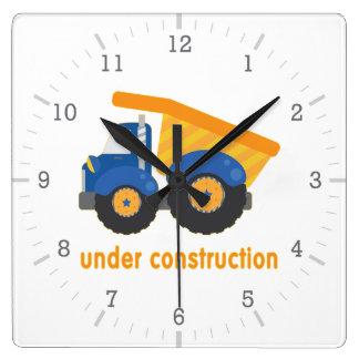 Under Construction Blue Truck Square Wall Clocks