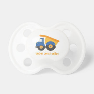 Under Construction Blue Truck Baby Pacifier