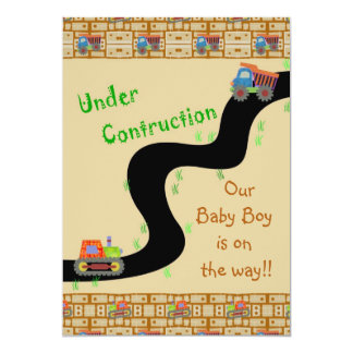 Under Construction Boy Baby Shower Invitations