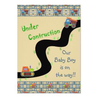 Under Construction Boy Baby Shower Invitations Bl