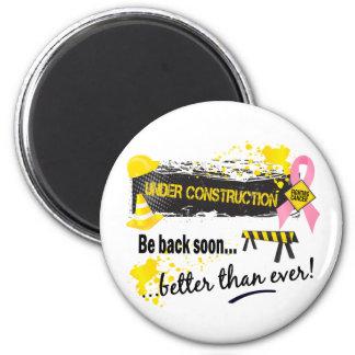 Under Construction Breast Cancer 2 Inch Round Magnet