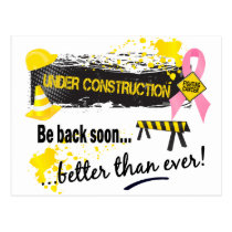 Under Construction Breast Cancer Postcard