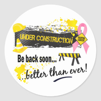 Under Construction Breast Cancer Classic Round Sticker
