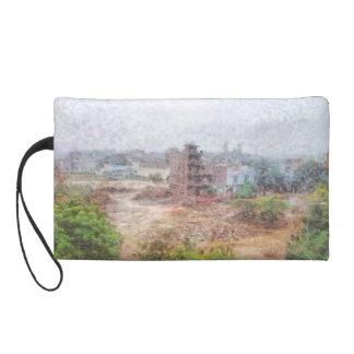 Under construction building wristlet purse