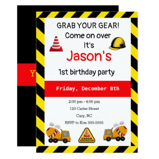 Under construction Concrete mixer Birthday Card
