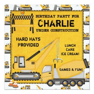 "Under Construction Custom Birthday Invitations 5.25"" Square Invitation Card"