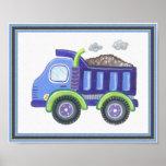 Under Construction Dump Truck Baby Boy Wall Art Poster