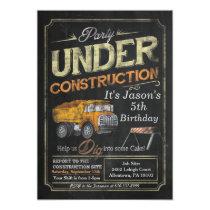 Under Construction Dump Truck Birthday Invitation