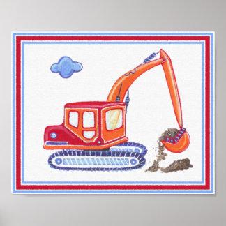 Under Construction Excavator Nursery Art Print