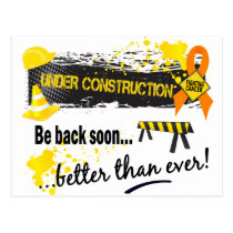 Under Construction Kidney Cancer Postcard