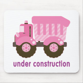 Under Construction Pink Truck Mouse Pad