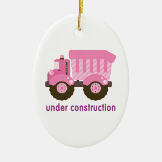 Under Construction Pink Truck Christmas Ornaments