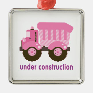 Under Construction Pink Truck Christmas Tree Ornament