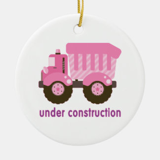 Under Construction Pink Truck Christmas Ornament