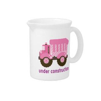 Under Construction Pink Truck Beverage Pitcher