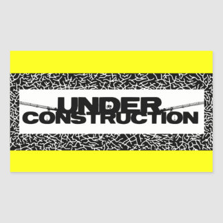 under construction rectangular sticker