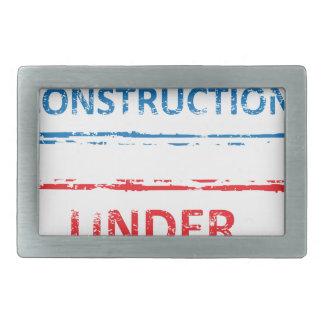Under Construction Stamp Rectangular Belt Buckle