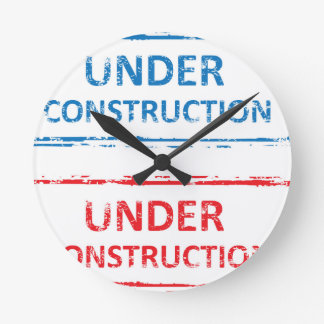 Under Construction Stamp Round Clock