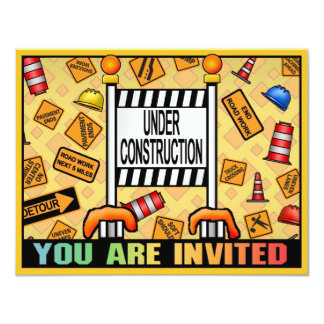 Under Construction Theme Kids Party Invitation