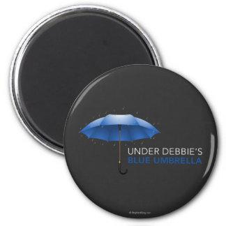 Under Debbie's Blue Umbrella 2 Inch Round Magnet