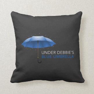 Under Debbie's Blue Umbrella Throw Pillow