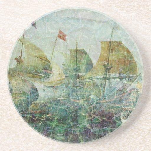 Under Full Sail Sandstone Coaster