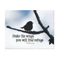 Under His wings Bible Verse Stretched Canvas Prints